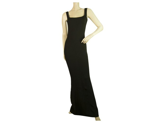 Alexander Mcqueen Alexander McQueen Black Bodycon Long Maxi Sleeveless dress size XS , Superb Dresses Viscose Black ref.255985