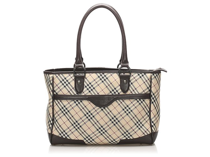 Burberry Burberry Brown Nova Check Canvas Handbag Handbags Leather,Cloth,Pony-style calfskin,Cloth Brown,Multiple colors,Beige ref.256313
