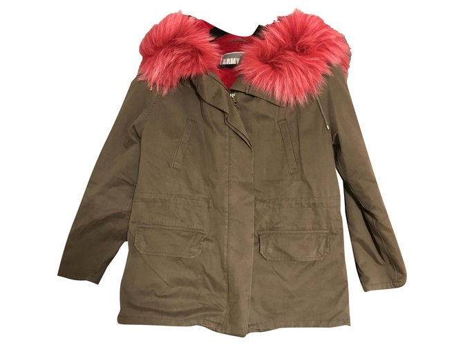 Yves Salomon Yves Salomon army Coats, Outerwear Rabbit Khaki ref.256664