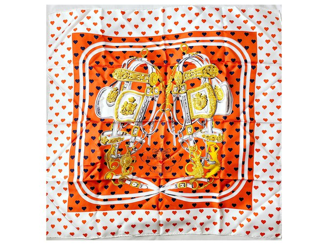 Hermès Brides de Gala Love in Heart Box Silk scarves Silk White ref.257083