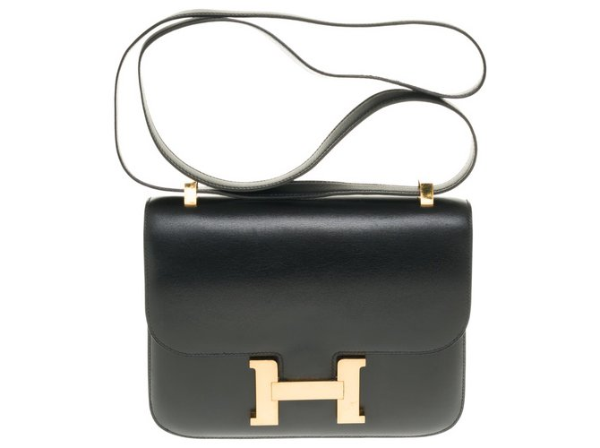 Hermès Splendid Hermès Constance in black box leather, gold-tone metal trim in superb condition Handbags Leather Black ref.257089