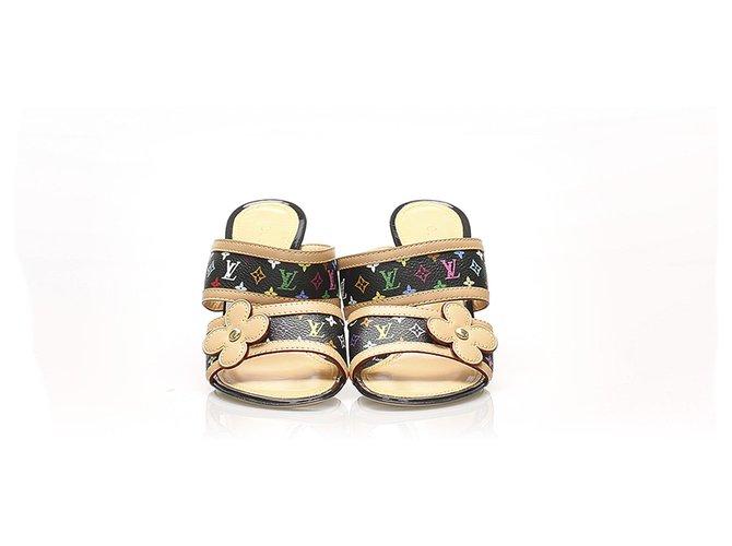 Louis Vuitton Louis Vuitton Brown Monogram Multicolore Sandals Sandals Leather,Other,Cloth Brown,Multiple colors,Light brown ref.257216