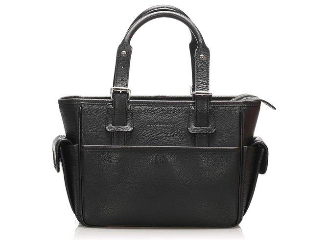 Burberry Burberry Black Leather Handbag Handbags Leather,Pony-style calfskin Black ref.257553