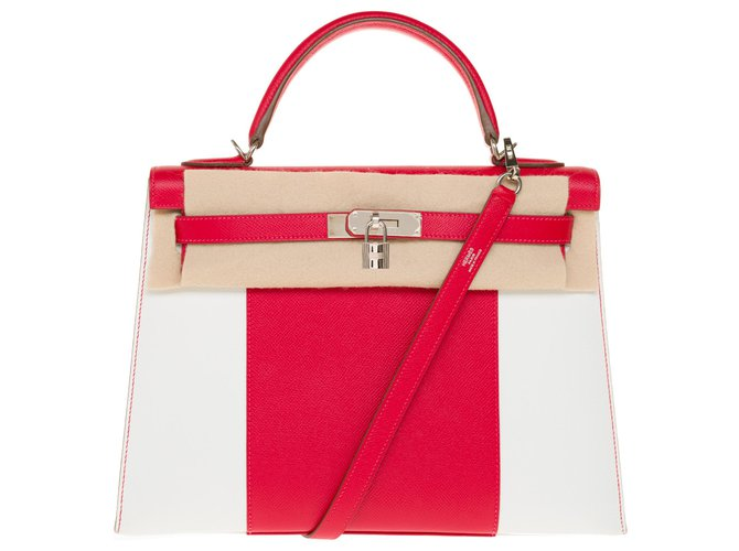 Hermès Limited edition / Kelly saddler Flag / Sublime Hermès Kelly 32 shoulder strap saddle in white and red epsom leather, palladium silver metal trim Handbags Leather White,Red ref.257770