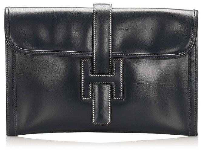 Hermès Hermes Black Jige PM Leather Clutch Bag Clutch bags Leather,Pony-style calfskin Black ref.258085