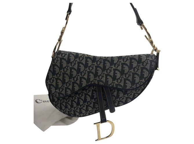 Dior SADDLE JACUARD Handbags Cloth Blue ref.258260