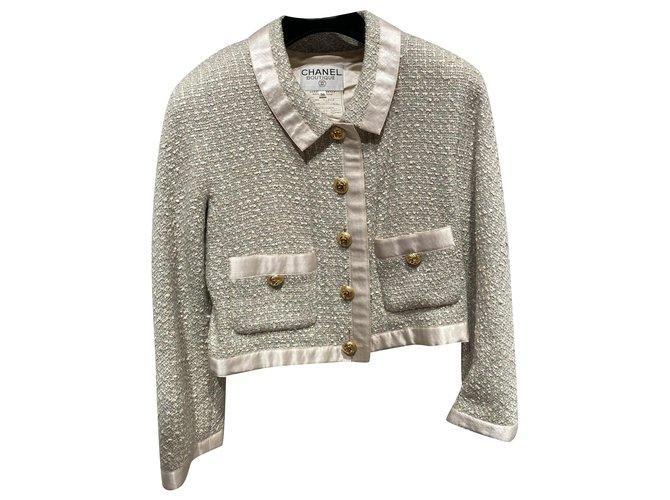 Chanel Jackets Jackets Silk,Tweed Beige,Light blue ref.258691