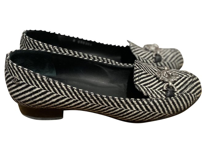 Chanel Flats Flats Tweed Black,White ref.258747