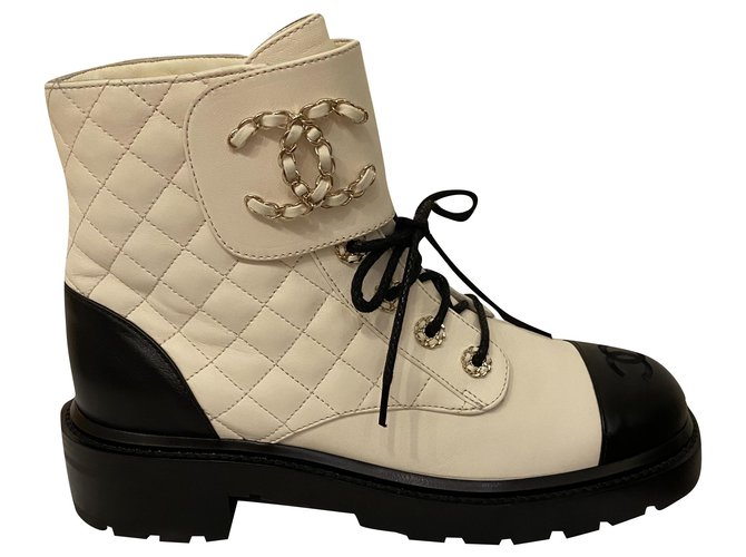 Chanel Chanel boots cc Ankle Boots Leather White ref.258855