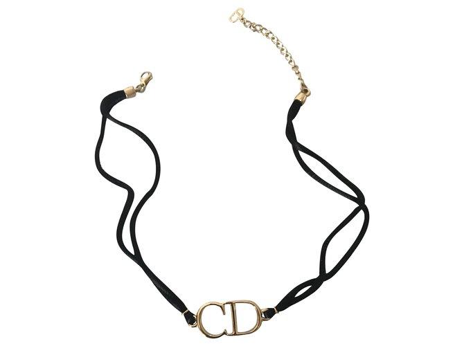Colliers Dior Colliers Métal Noir,Doré ref.259233