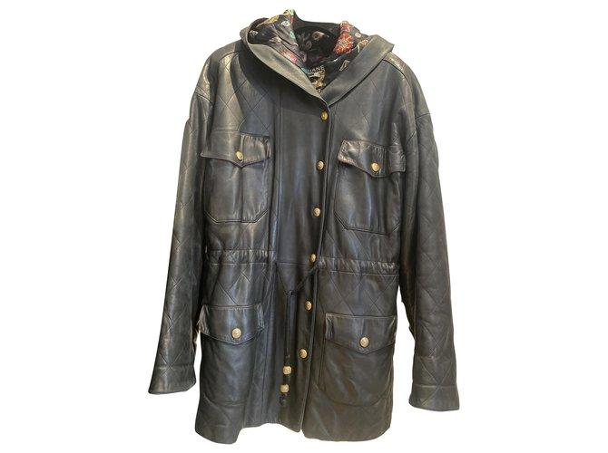 Chanel Coats, Outerwear Coats, Outerwear Lambskin Black ref.259345