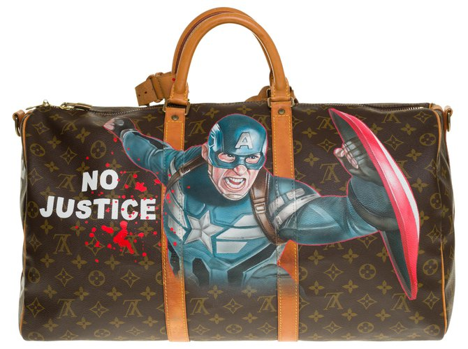 """Louis Vuitton Exceptional Louis Vuitton Keepall travel bag 50 """"Captain America III"""" custom monogram canvas shoulder strap by the artist PatBo Bags Briefcases Leather,Cloth Brown ref.259419"""