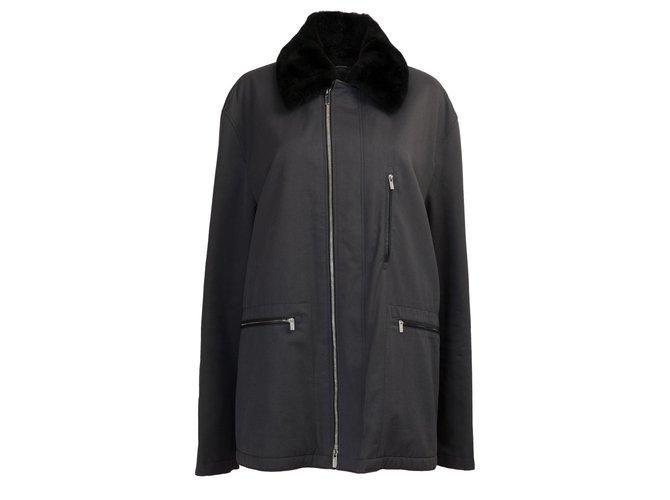 Hermès Very beautiful Hermès men's canvas jacket, leather and silver trim, New condition Blazers Jackets Cloth Black ref.259737