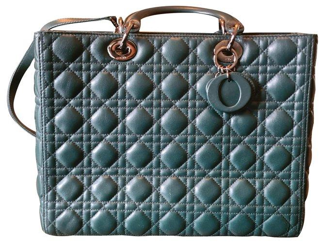 Christian Dior LADY DIOR Dark green Leather  ref.260785