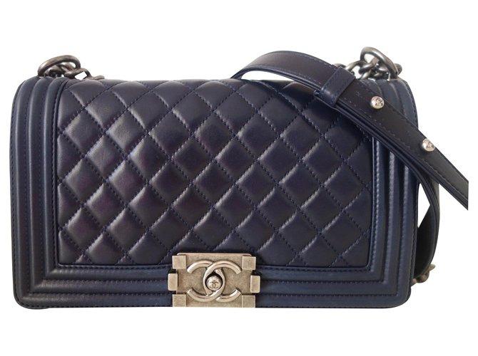 Chanel Chanel Boy bag navy blue Handbags Leather Navy blue ref.261147
