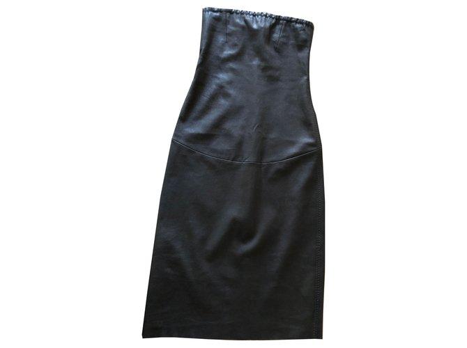 STOULS bodycon strapless dress in washable stretch leather T. XS Dark brown Elastane Lambskin  ref.261753