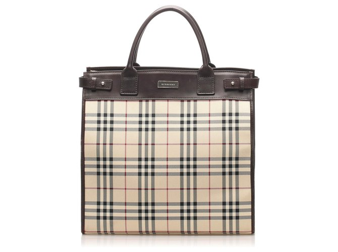 Burberry Burberry Brown House Check Canvas Satchel Handbags Leather,Cloth,Pony-style calfskin,Cloth Brown,Multiple colors,Beige ref.261838