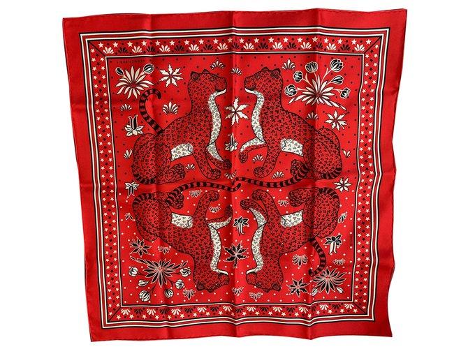 Hermès Leopards Silk scarves Silk Red ref.262108