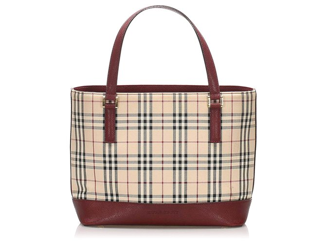 Burberry Burberry Brown House Check Canvas Handbag Handbags Leather,Cloth,Pony-style calfskin,Cloth Brown,Multiple colors,Beige ref.262398