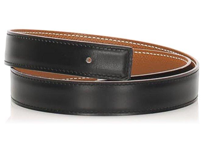 Hermès Hermes Black Reversible Leather Belt Clutch bags Leather,Pony-style calfskin Black ref.262403