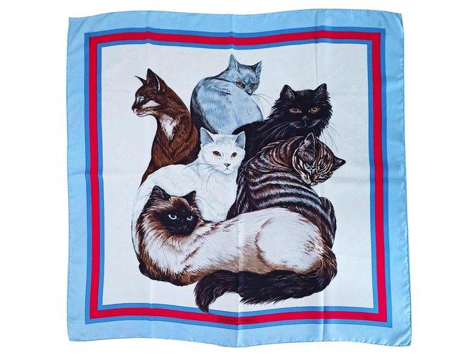 Hermès The cats Silk scarves Silk Light blue ref.262692
