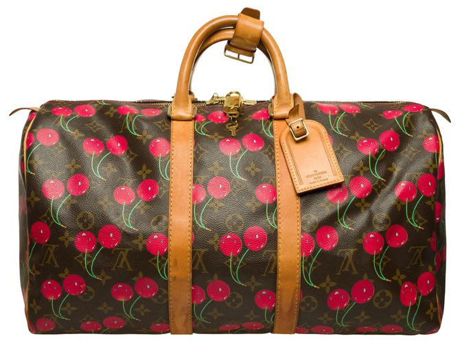 """Louis Vuitton Limited edition - Collector - Louis Vuitton Keepall travel bag 45 Murakami """"Cherry"""" in monogram canvas Travel bag Leather,Cloth Brown,Red ref.262705"""