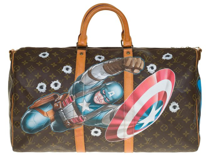 """Louis Vuitton Exceptional Louis Vuitton Keepall travel bag 50 canvas strap custom monogram """"Captain America Vs Mickey"""" by artist PatBo Bags Briefcases Leather,Cloth Brown ref.263155"""