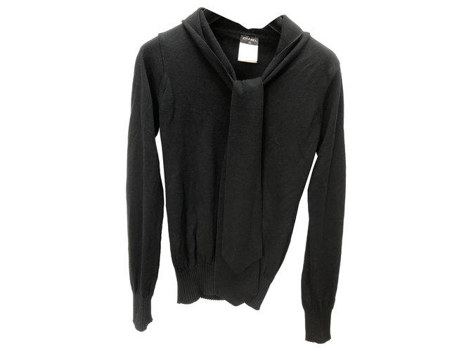 Chanel Knitwear Black Wool  ref.263305