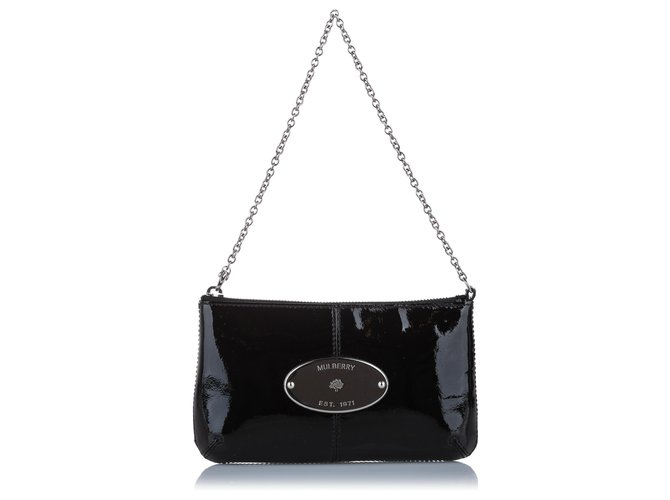 Mulberry Mulberry Black Charlie Patent Leather Clutch Bag Handbags Leather,Patent leather Black ref.263341