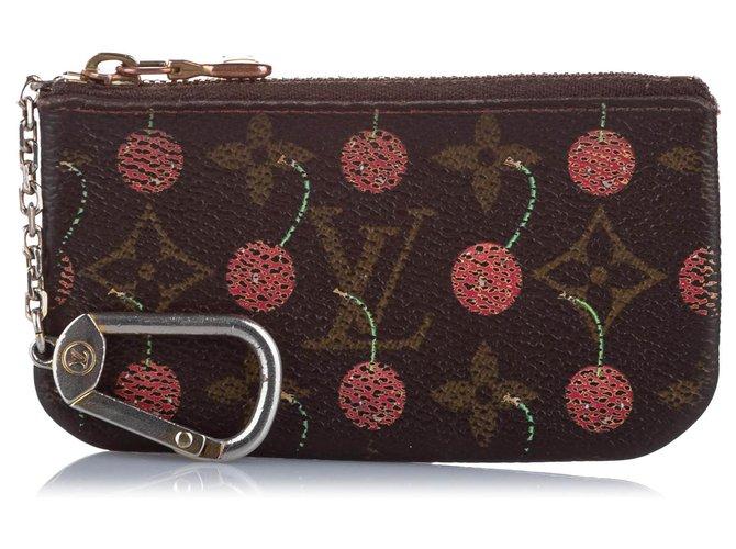 Louis Vuitton Louis Vuitton Brown Monogram Cerises Key Holder Purses, wallets, cases Cloth Brown,Red ref.263381