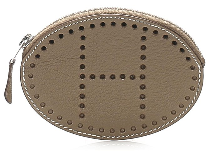 Hermès Hermes Brown Evelyn Leather Coin Pouch Purses, wallets, cases Leather,Pony-style calfskin Brown ref.263610