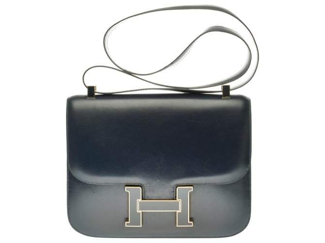 Hermès Limited edition / Splendid Hermès Constance bag 23 in navy box leather, navy enamel and gold-plated buckle Handbags Leather Navy blue ref.263957