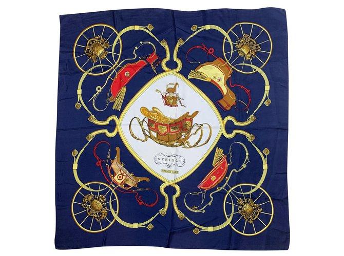 Hermès Springs of Hermes Silk scarves Silk Navy blue ref.264206