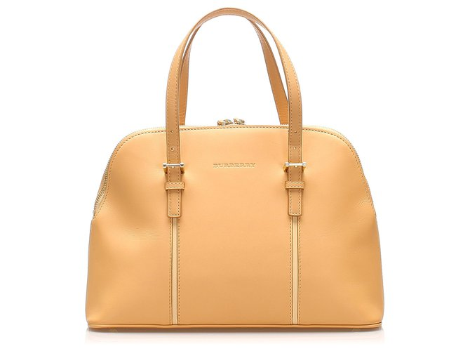 Burberry Burberry Brown Leather Handbag Handbags Leather,Pony-style calfskin Brown,Beige ref.264309
