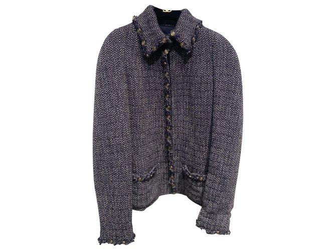 Chanel Jackets Jackets Tweed Blue ref.265230