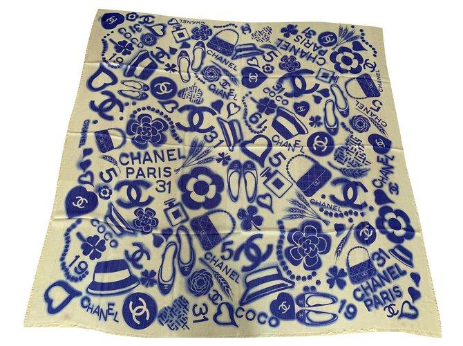 Chanel STOLE CHANEL CASHMERE Scarves Cashmere Light blue ref.265363