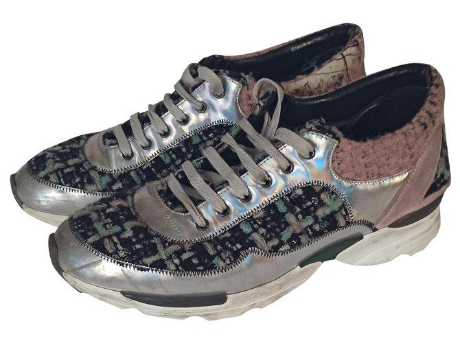Chanel Sneakers Sneakers Leather,Tweed Multiple colors ref.266049