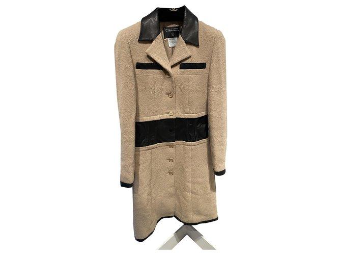 Chanel Coats, Outerwear Coats, Outerwear Leather,Wool Black,Beige ref.266256