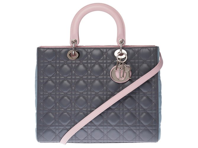 Christian Dior Limited series - Lady Dior large model (GM) in tricolor caning leather (tow gray, rose, turquoise), Garniture en métal argenté Pink Grey  ref.266320