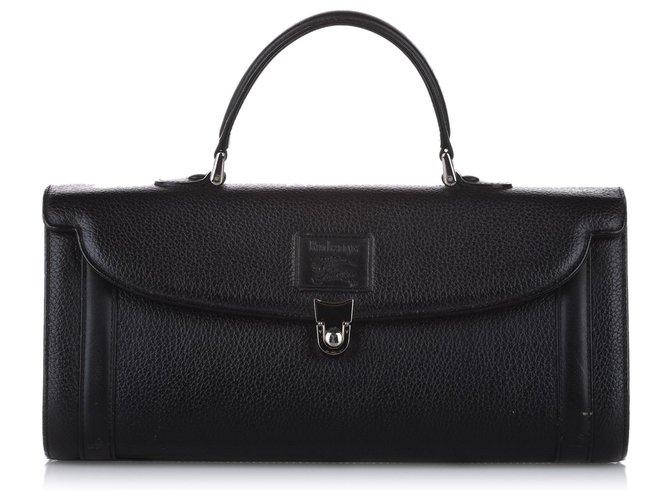 Burberry Burberry Black Leather Handbag Handbags Leather,Pony-style calfskin Black ref.266431