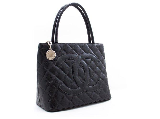 CHANEL Silver Medallion Caviar Shoulder Bag Shopping Tote Black Leather  ref.266648