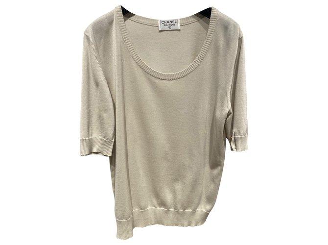 Chanel Knitwear Beige Cotton  ref.266681