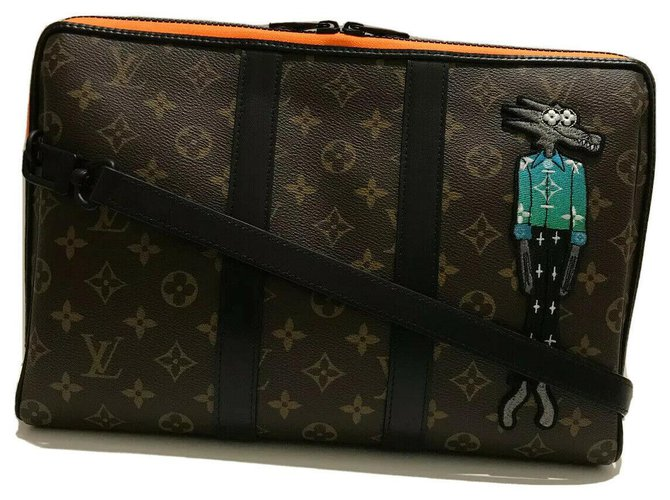 Louis Vuitton Pouch Keepall Zoooom with Friends Limited Edition Bags Briefcases Leather,Cloth,Cloth Brown,Black,Orange ref.266703