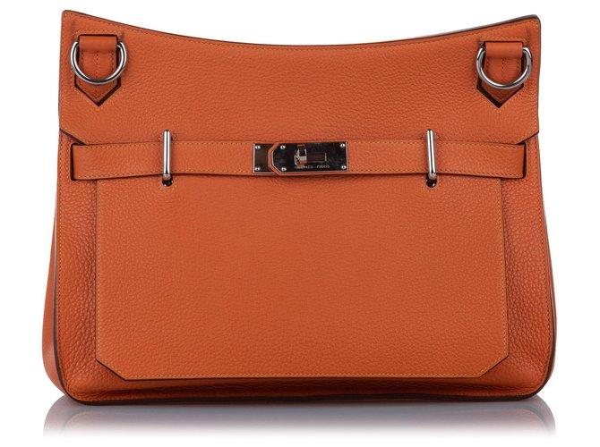 Hermès Hermes Orange Clemence Birkin Cuir Veau façon poulain  ref.267367