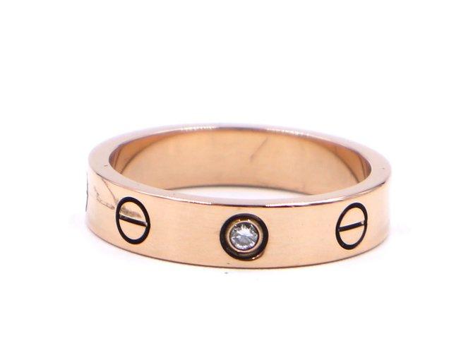 Bagues Cartier cartier 18K 750 1Taille de bague P Diamond Love 50 Or rose Doré ref.267529