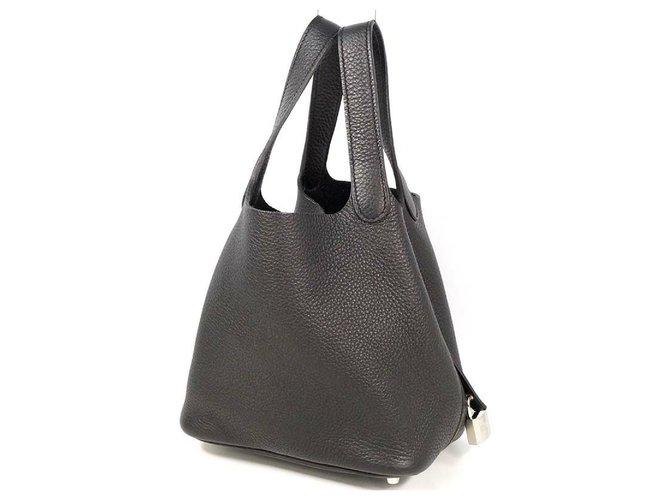 Hermès HERMES Picotin Lock PM Womens handbag black x silver hardware Handbags Leather Black,Silver hardware ref.267826