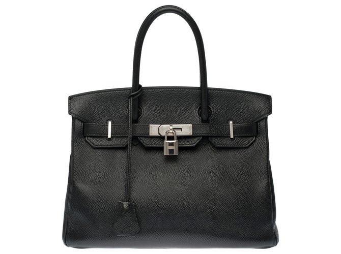Splendid Hermès Birkin 30 in black epsom leather, palladium silver metal trim  ref.268233