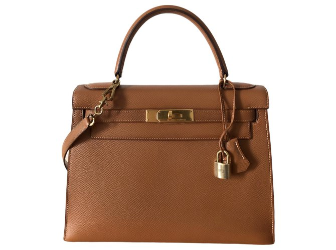 Hermès hermes kelly 28 leather Courchevel Gold Brown  ref.268486