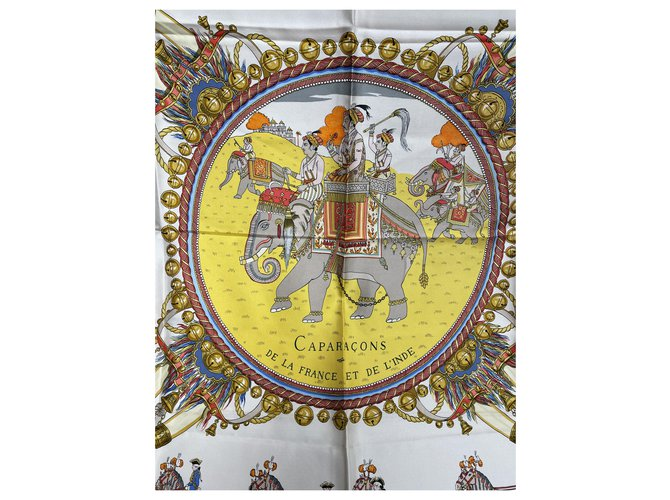 Hermès Caparons from France and India Silk scarves Silk Multiple colors,Yellow ref.269246