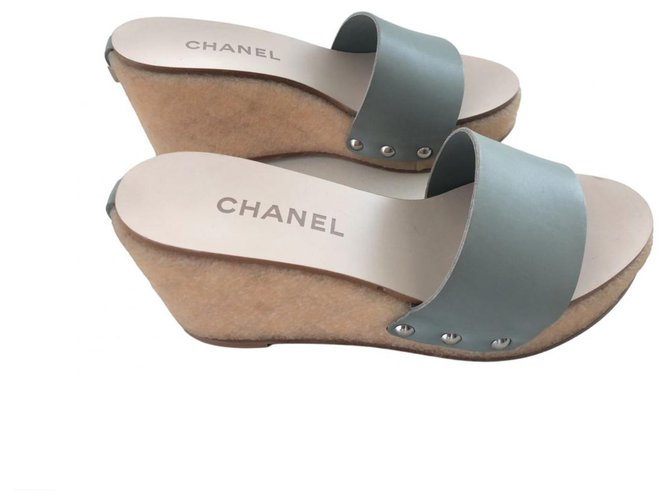 Chanel Leather Wedges Sandals Wedge mules Leather Light green ref.269257
